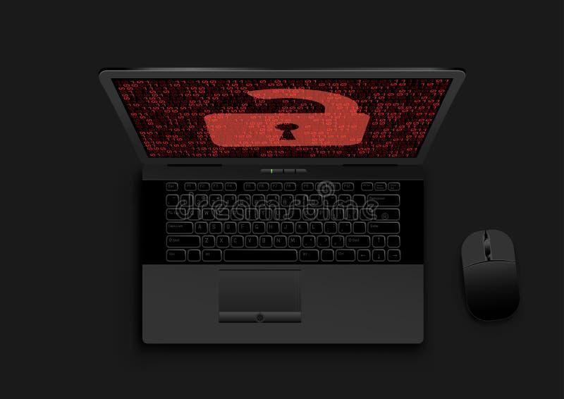 Cerradura abierta del ordenador portátil negro en la pantalla stock de ilustración