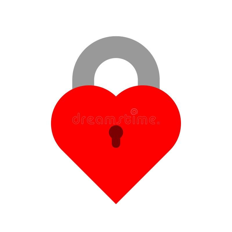 Cerradura cerrada del vector rojo bajo la forma de corazón con el ojo de la cerradura Icono plano aislado en el fondo blanco Mues stock de ilustración