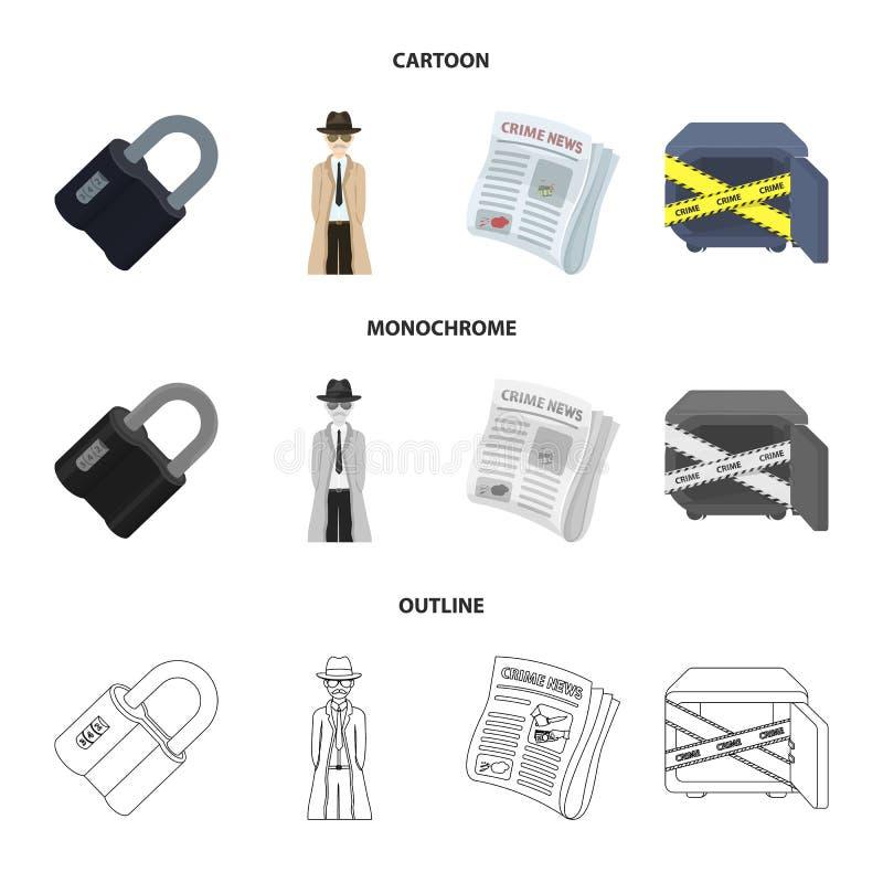 Cerradura cifrada, el aspecto del detective, un periódico con noticias criminales, una caja fuerte cortada Sistema del crimen y d stock de ilustración