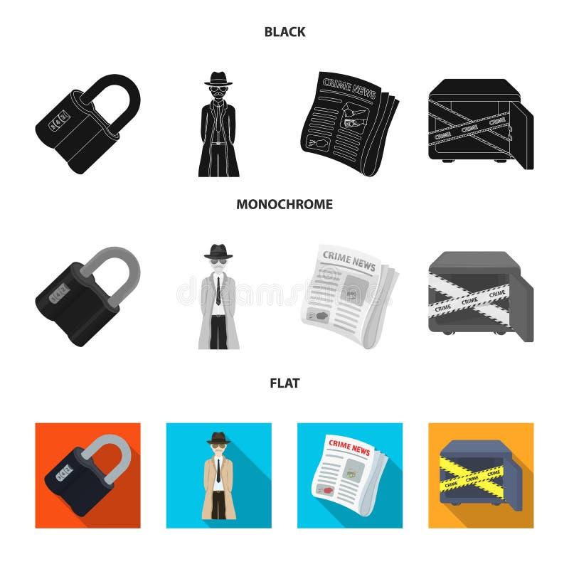 Cerradura cifrada, el aspecto del detective, un periódico con noticias criminales, una caja fuerte cortada Sistema del crimen y d ilustración del vector