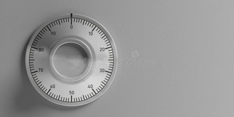 Cerradura de combinación segura, aislado, recorte con el espacio de la copia en un fondo gris de la pared ilustración 3D ilustración del vector