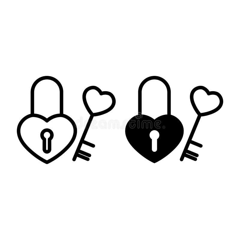Cerradura de la forma del corazón con una línea y un icono dominantes del glyph Ejemplo del vector del castillo aislado en blanco libre illustration