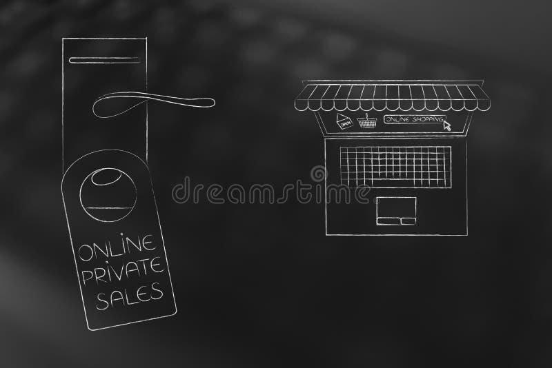 Cerradura de puerta de las ventas privadas al lado del ordenador portátil con la e-tienda en el pedregal ilustración del vector