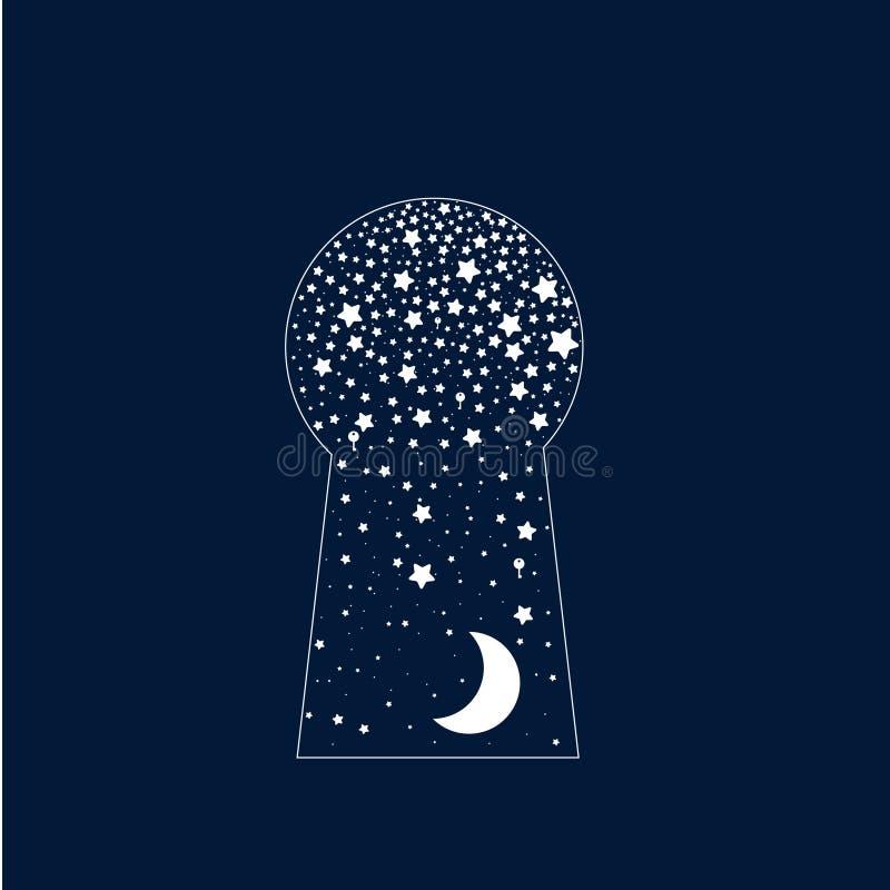 Cerradura de puerta surrealista abstracta Estrellas y luna stock de ilustración