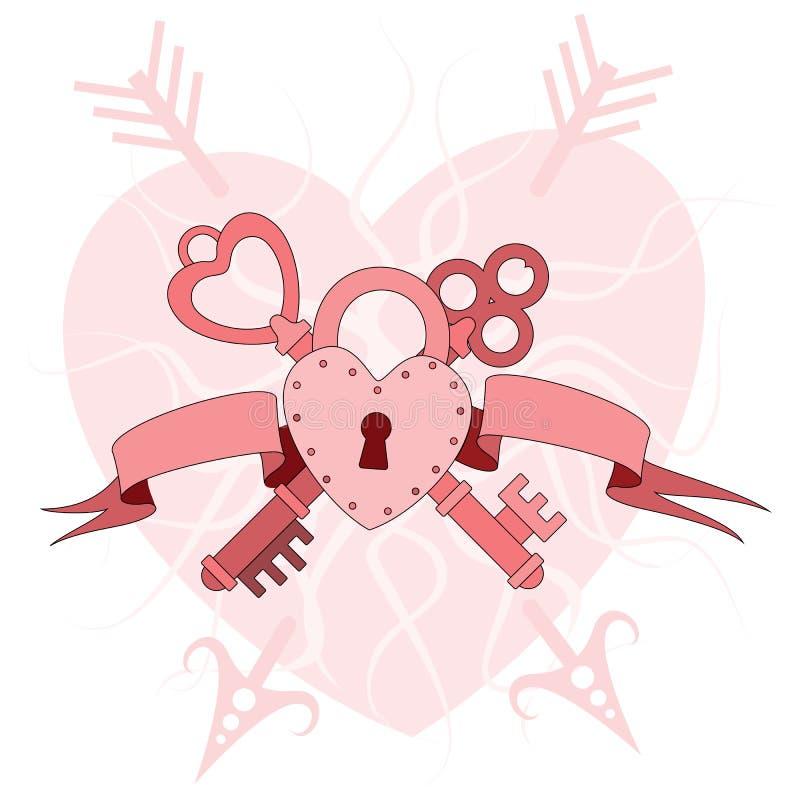Cerradura del corazón con llaves libre illustration