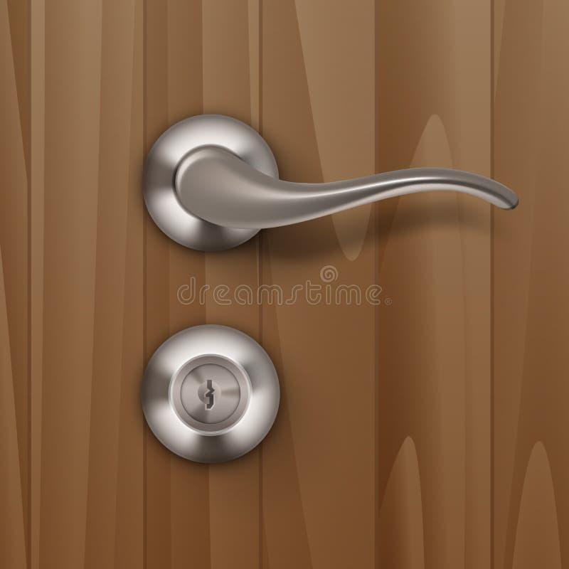 Cerradura del tirador de puerta del metal del vector aislada en el fondo de madera de madera ilustración del vector