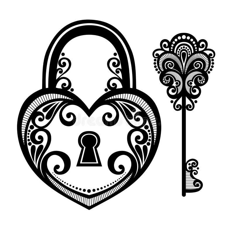 Cerradura del vintage con una llave libre illustration