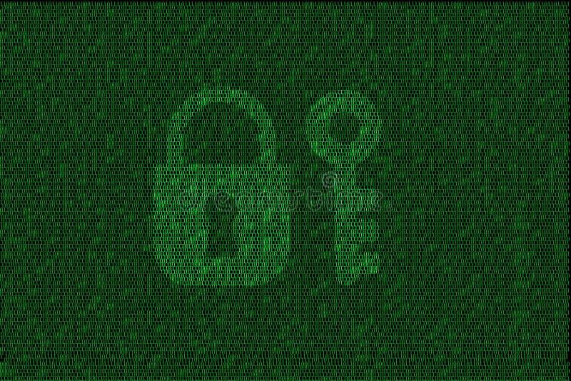 Cerradura digital cifrada y llave con código binario verde stock de ilustración