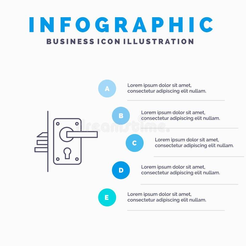 Cerradura, puerta, manija, ojo de la cerradura, línea casera icono con el fondo del infographics de la presentación de 5 pasos ilustración del vector
