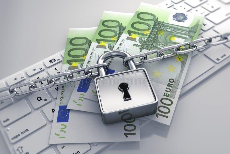 Cerradura y cadena - seguridad del ordenador del concepto stock de ilustración