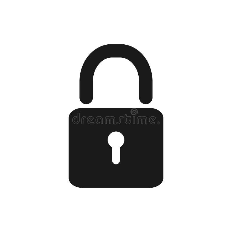Cerradura y candado desbloqueado de la seguridad de los iconos del vector, contraseña, símbolo de la aislamiento para el diseño g stock de ilustración