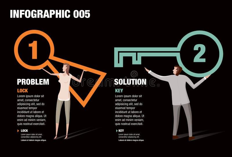 Cerradura y llave Infographic stock de ilustración