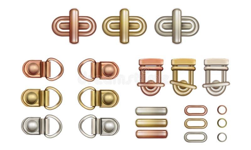 Cerraduras de la torsión del metal para los bolsos Lazos y anillos stock de ilustración