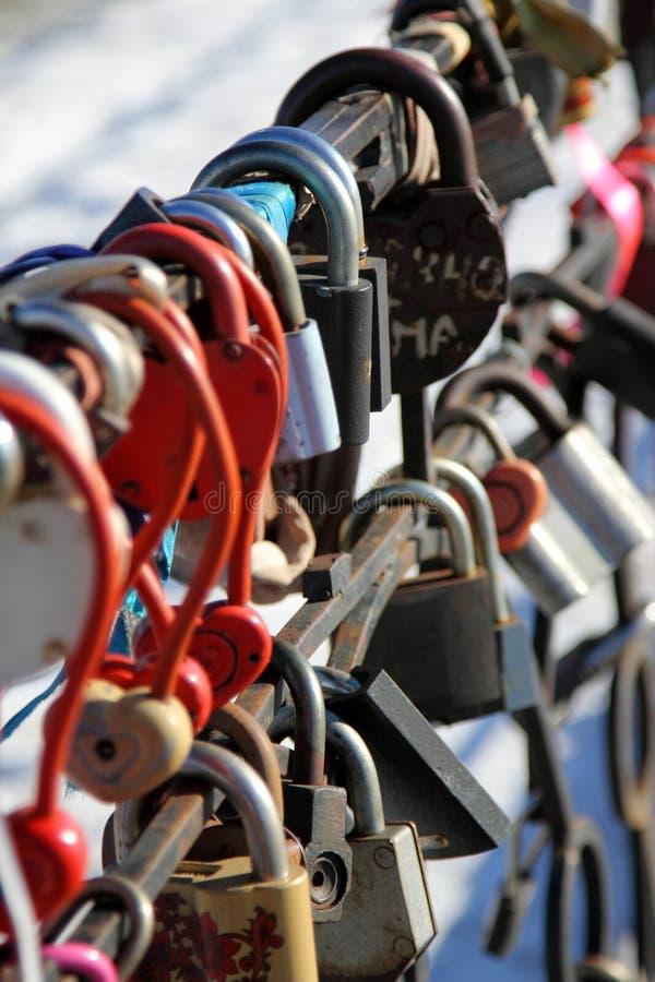 Cerraduras enamoradas en una protección del metal imagen de archivo