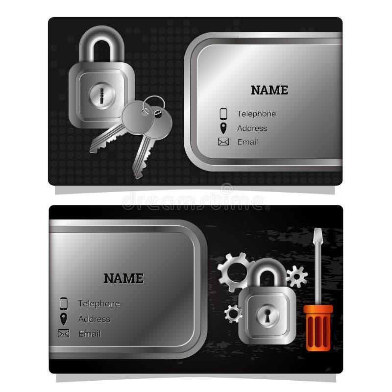 Cerraduras y llaves de la reparación de la tarjeta de visita libre illustration