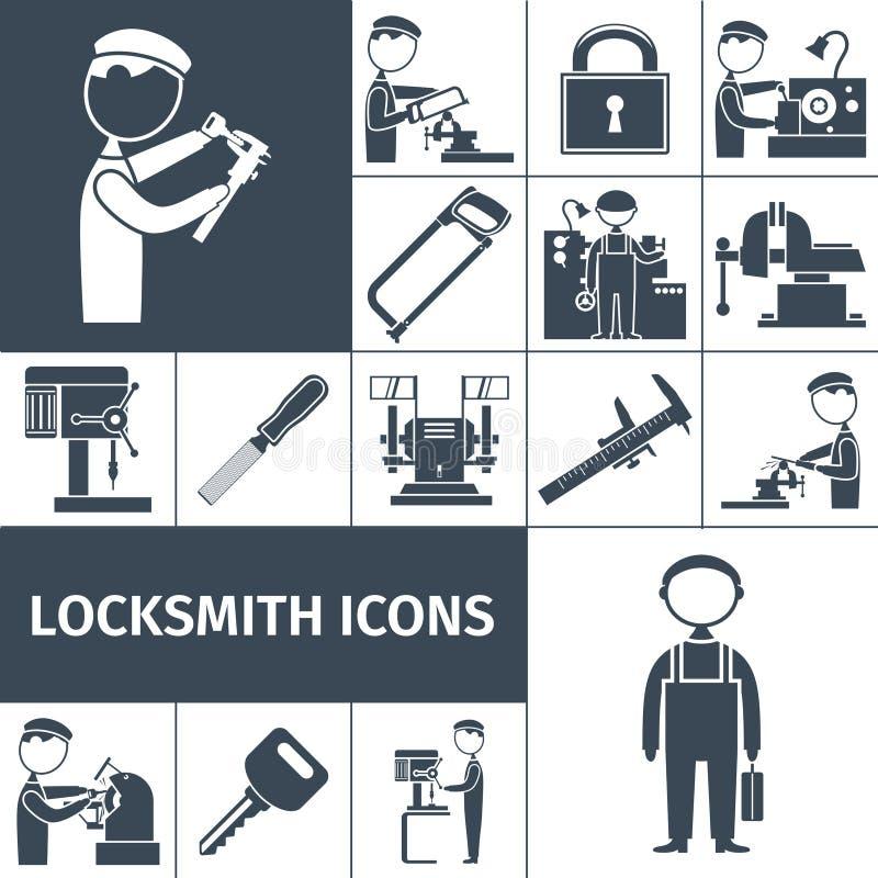 Cerrajero Icons Black stock de ilustración