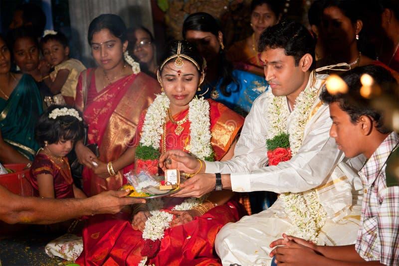 cerremony印第安泰米尔人传统婚礼 免版税图库摄影