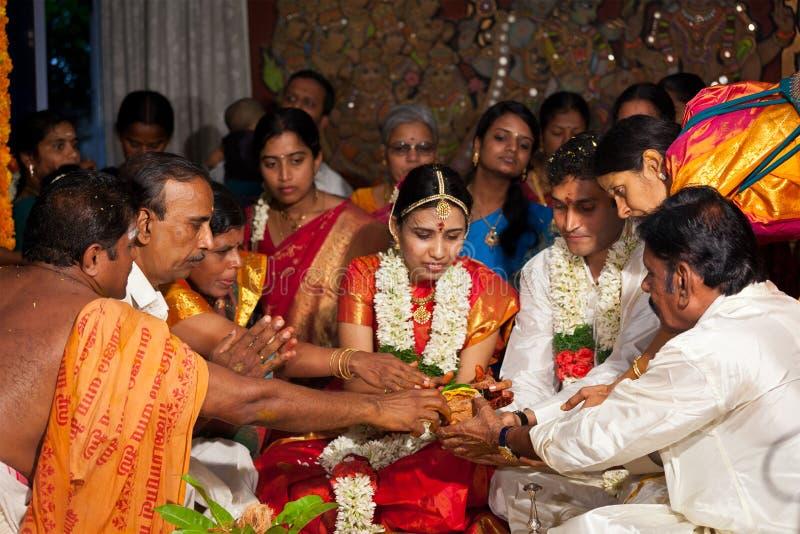 Cerremony Wedding traditionnel (Tamoul) indien photos libres de droits