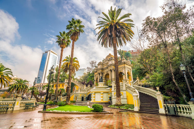 Cerro Санта Lucia в городском Сантьяго, Чили стоковое изображение
