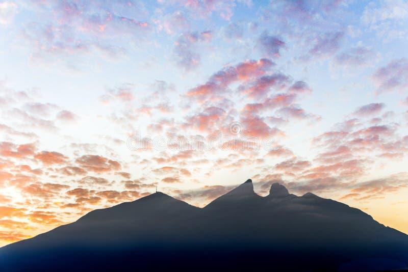 Famous mountain in Monterrey Mexico called Cerro de la Silla. Cerro de la Silla mountain silhouette in Monterrey Nuevo Leon Mexico stock photos