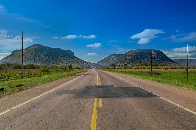 Cerro Paraguari is one of Paraguay`s most iconic landmarks in Paraguay. One of the best-known landscapes is the route that connects this town with Piribebuy stock photography