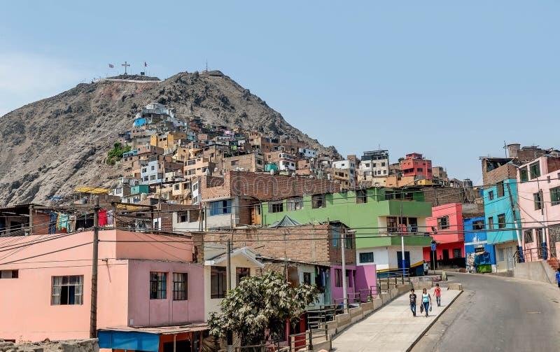 Cerro San Cristobal krottenwijk in Lima, Peru royalty-vrije stock afbeeldingen