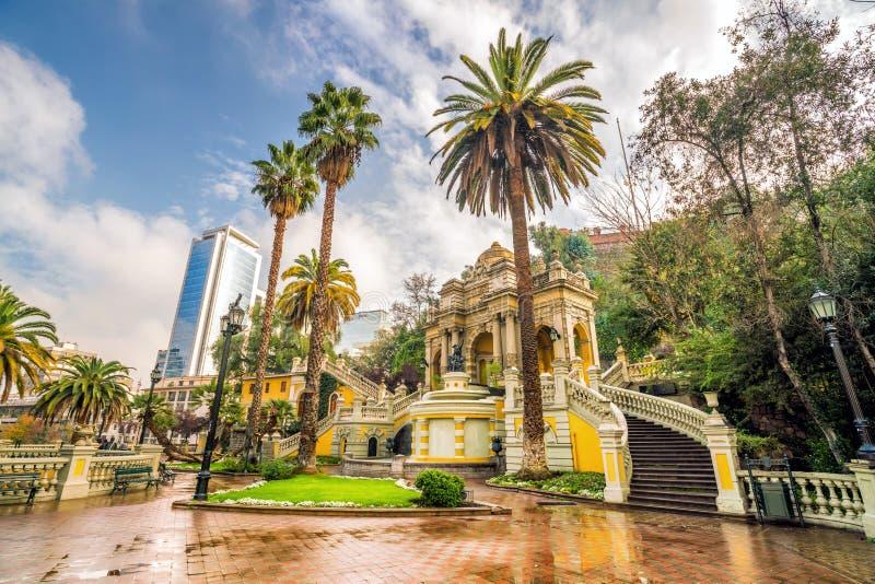 Cerro Santa Lucia in Downtown Santiago, Chile. Vintage Cerro Santa Lucia in Downtown Santiago, Chile stock image
