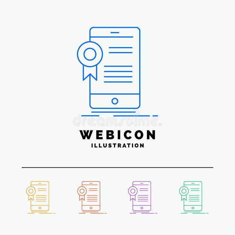certificaat, certificatie, App, toepassing, goedkeuring 5 het Pictogrammalplaatje van het Rassenbarrièreweb dat op wit wordt geïs vector illustratie