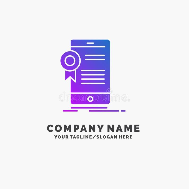 certificaat, certificatie, App, toepassing, goedkeurings Purpere Zaken Logo Template Plaats voor Tagline stock illustratie