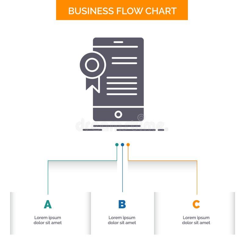 certificaat, certificatie, App, toepassing, het Ontwerp goedkeurings van de Bedrijfsstroomgrafiek met 3 Stappen Glyphpictogram vo stock illustratie