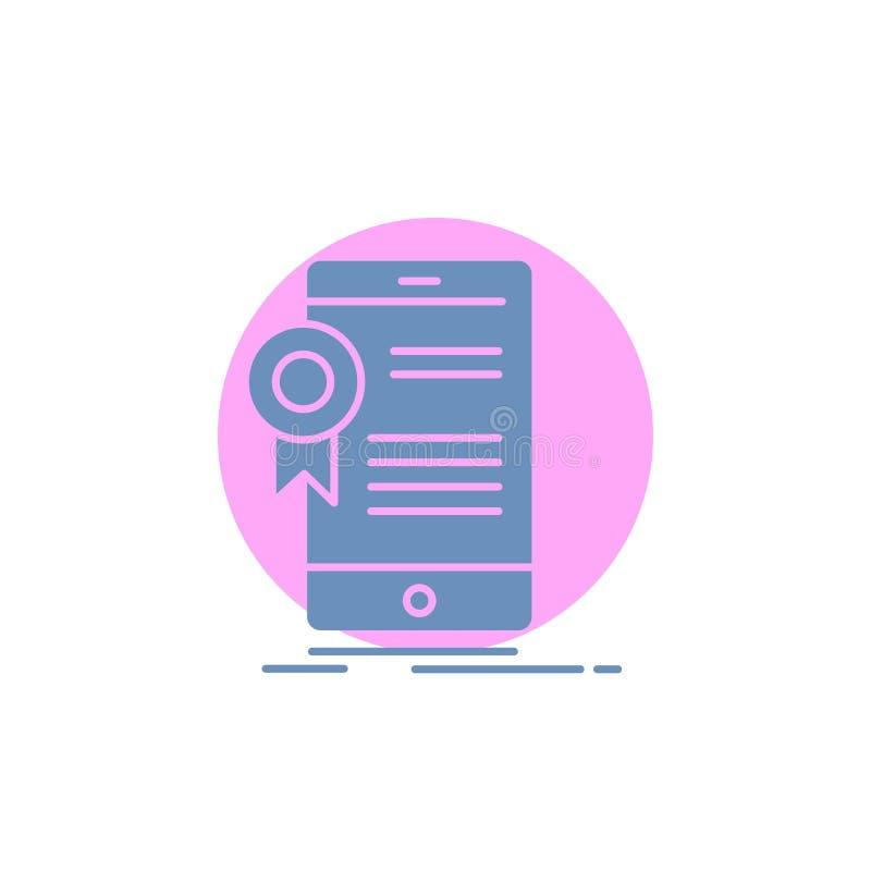 certificaat, certificatie, App, toepassing, het Pictogram van goedkeuringsglyph royalty-vrije illustratie