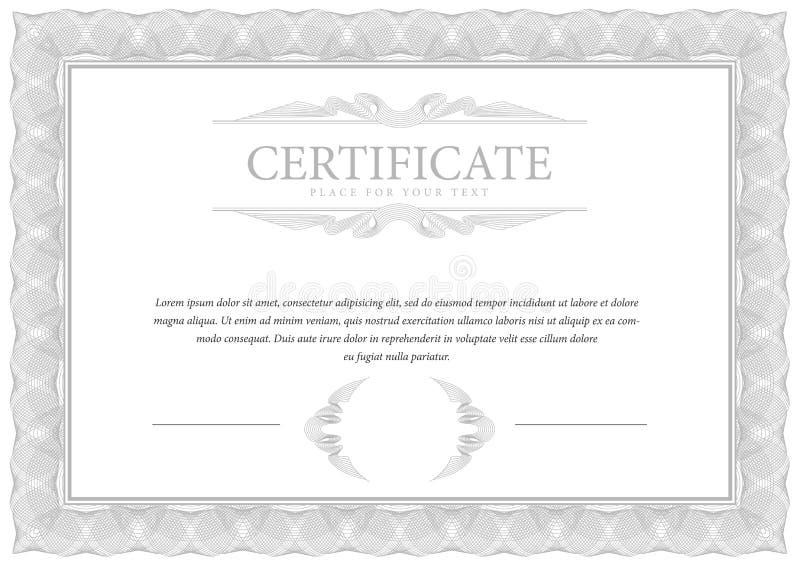 certificaat De muntgrens van het malplaatjediploma vector illustratie