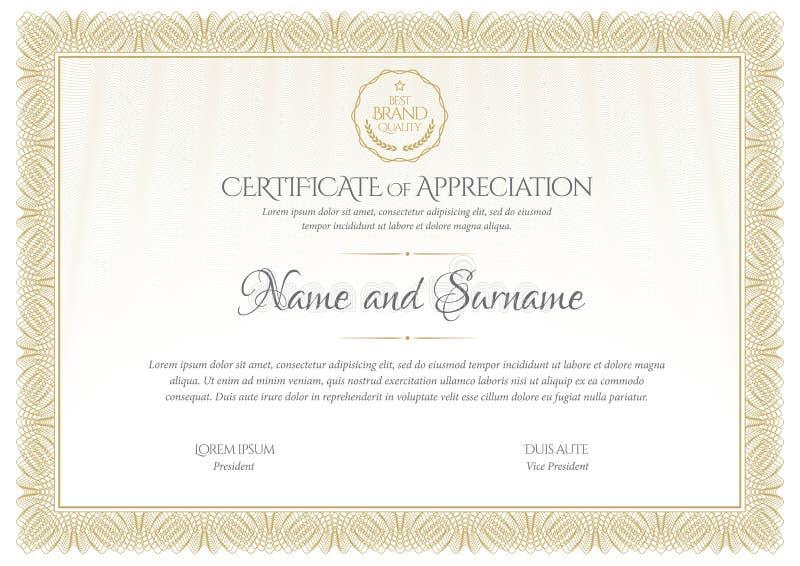 certificaat De muntgrens van het malplaatjediploma Toekennings achtergrondgiftbon vector illustratie