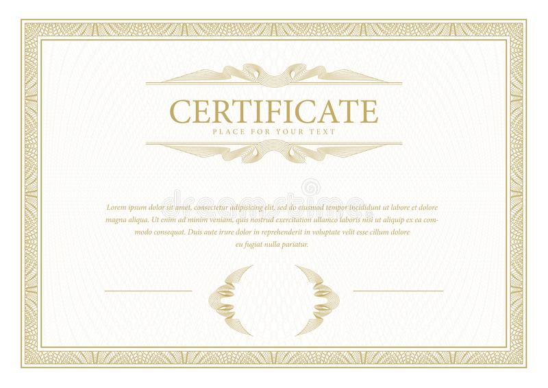 certificaat De muntgrens van het malplaatjediploma Toekennings achtergrondgiftbon royalty-vrije illustratie