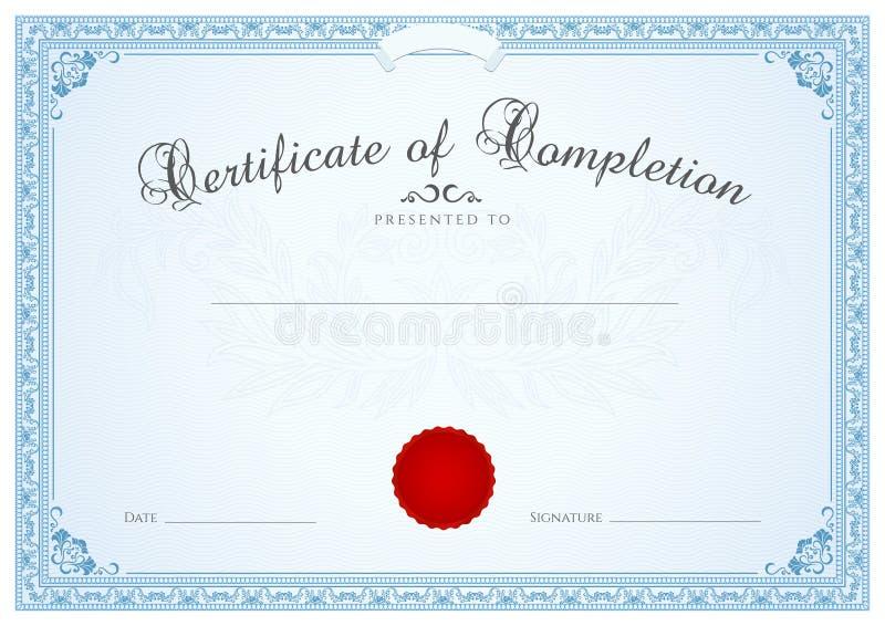 Certificaat/Diploma achtergrondmalplaatje. Bloemen  stock illustratie