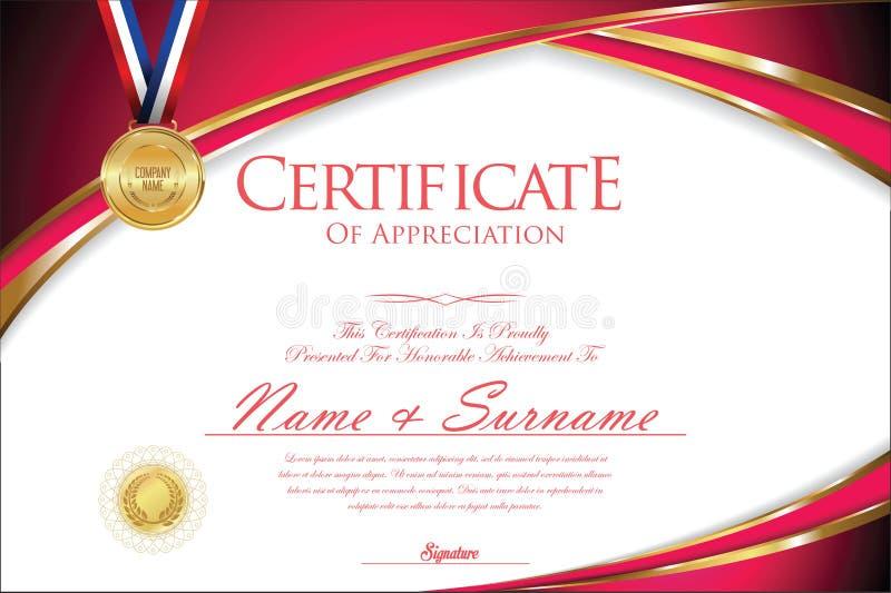 Certificaat of diploma retro ontwerp stock illustratie