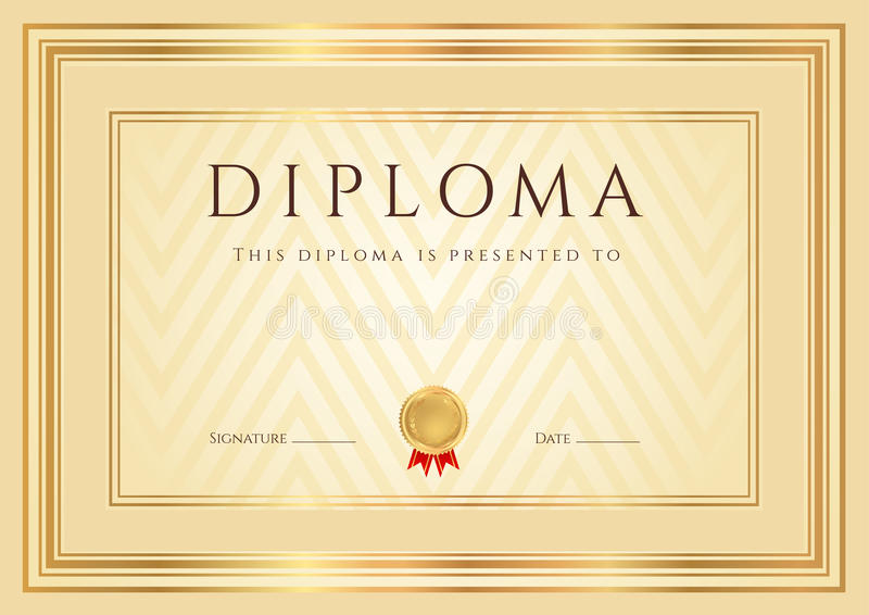 Certificaat/Diplomaachtergrond (malplaatje). Kader stock illustratie