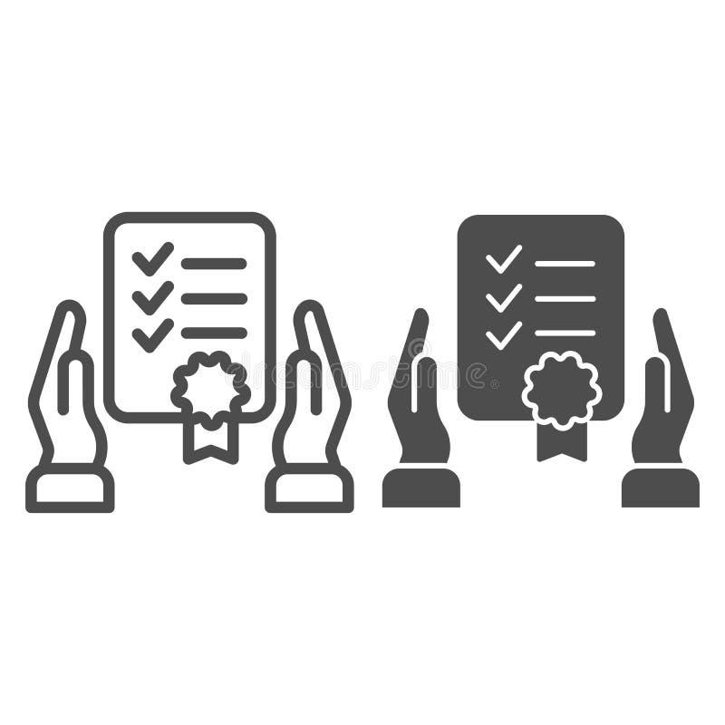 Certificaat in handenlijn en glyph pictogram De vectorillustratie van de garantielijst die op wit wordt geïsoleerd Officieel docu vector illustratie