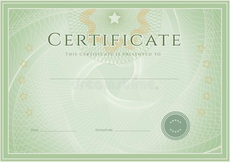 Certificaat/het malplaatje van de Diplomatoekenning. Grunge patte stock illustratie