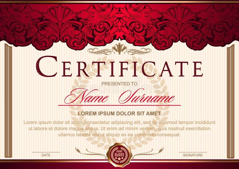 Certificaat horizontaal in de stijl van wijnoogst, rococo's, barok in de vorm van een scène met scènes en kolommen stock illustratie