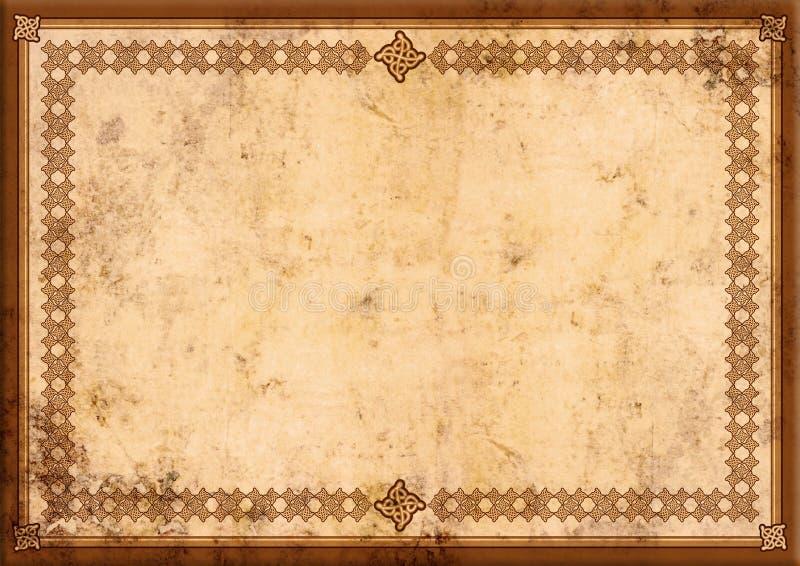 Certificaat met oude document achtergrond royalty-vrije illustratie