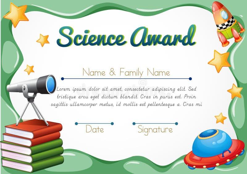 Certificaat met wetenschapsvoorwerpen op achtergrond vector illustratie