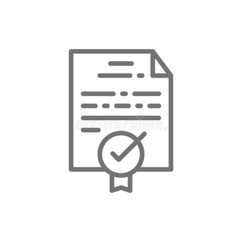 Certificaat, toelage, diploma, kwaliteitscontrole goedgekeurd lijnpictogram royalty-vrije illustratie