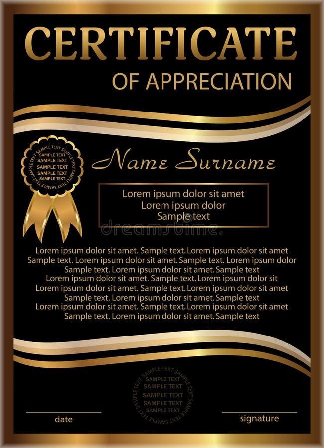 Certificaat van appreciatie gouden en zwart malplaatje verticaal stock illustratie
