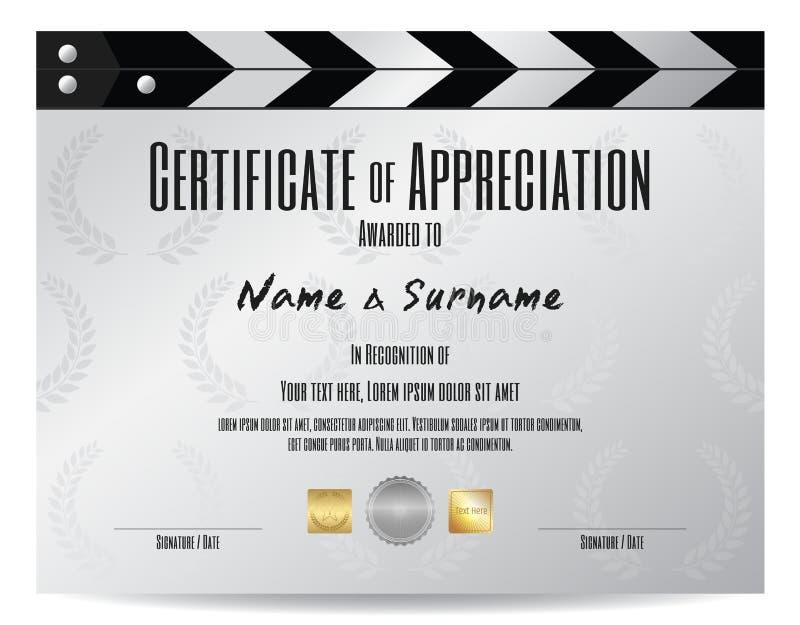 Certificaat van appreciatie met de lei van de filmfilm in zilveren toon vector illustratie