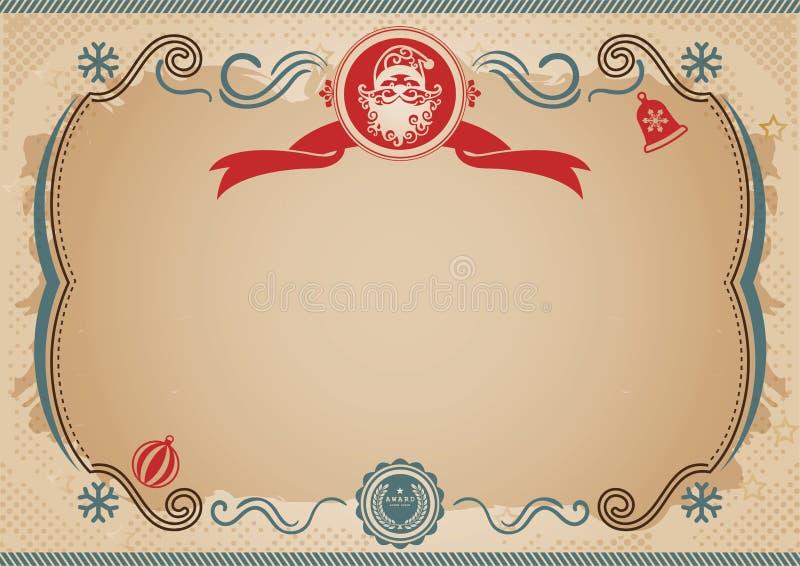 Certificaat van Chrismtas het oude fairytale Santa Claus-zegel, Uitstekende grens vector illustratie