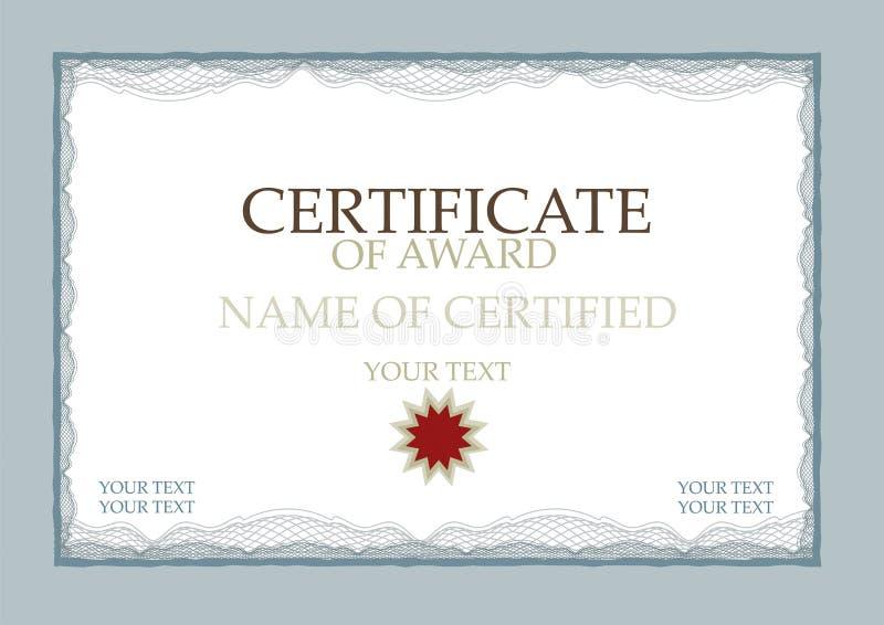 Certificaat van het Blauw van de Toekenning vector illustratie