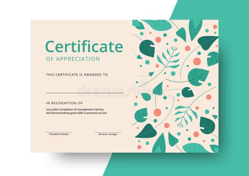 Certificaat van het ontwerp van het appreciatiemalplaatje Elegant bedrijfsdi stock illustratie