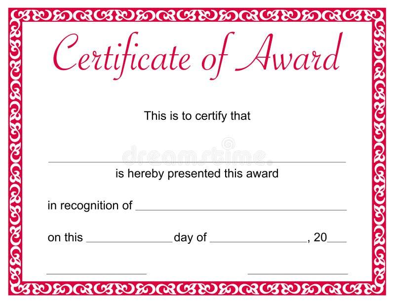 Certificaat van toekenningsmalplaatje vector illustratie