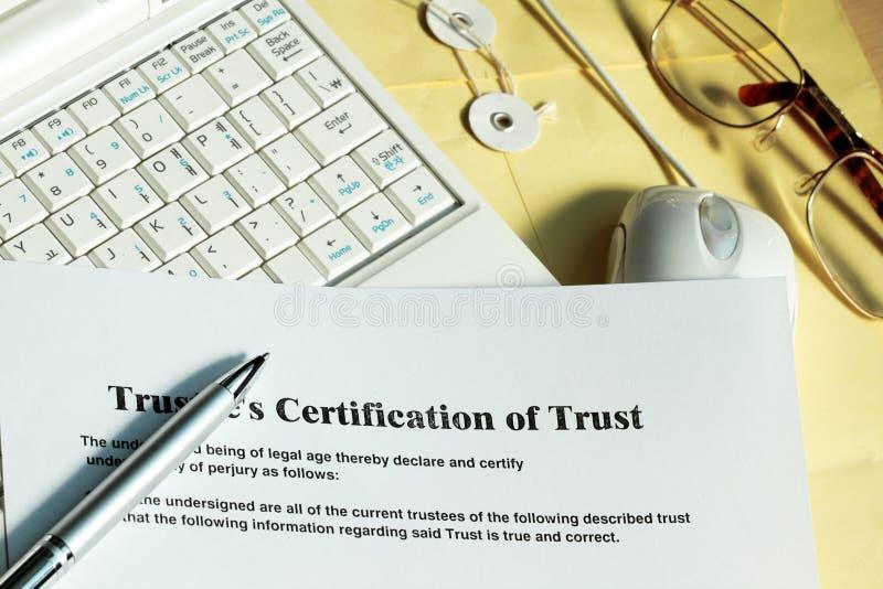 Certificaat van vertrouwen stock fotografie